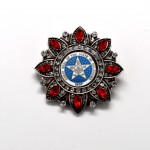 Ant Silver Blue Seal Red Stones Diamond