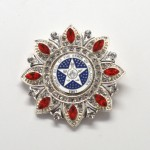 Silver Blue Seal Red Stones Diamond